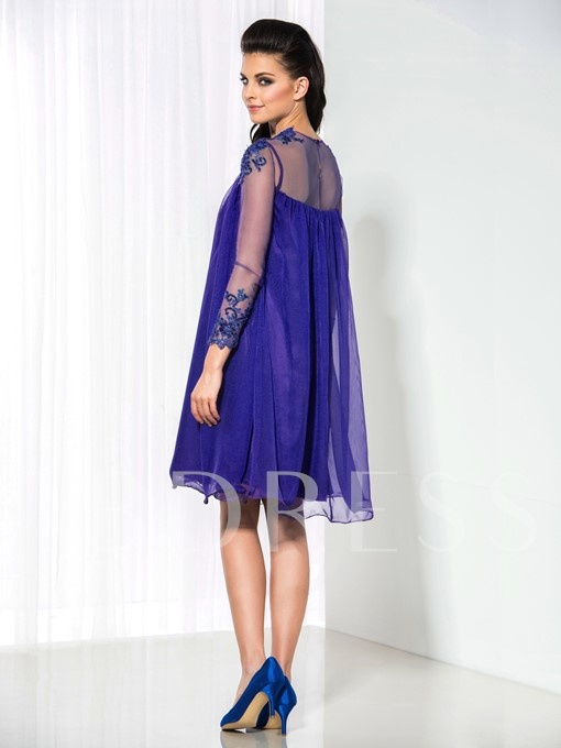 Long Sleeve A-Line Round Neck Ruffles Appliques Cocktail Dress