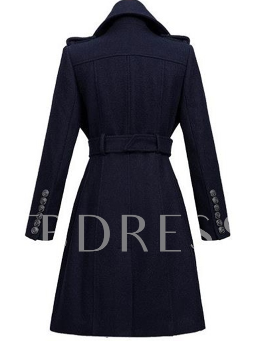Long Vintage Lapel Long Sleeve Women's Overcoat With Belt