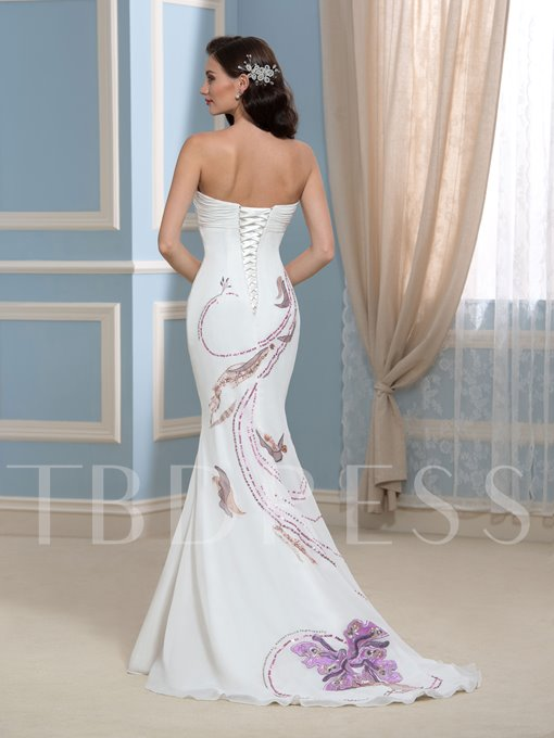 Sequins Embroidery Appliques Mermaid Wedding Dress
