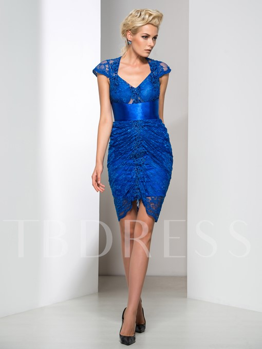 Sheath Cap Sleeves V-Neck Lace Beading Cocktail Dress