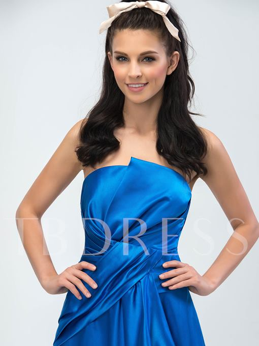 A-Line Strapless Ruched Asymmetric Evening Dress