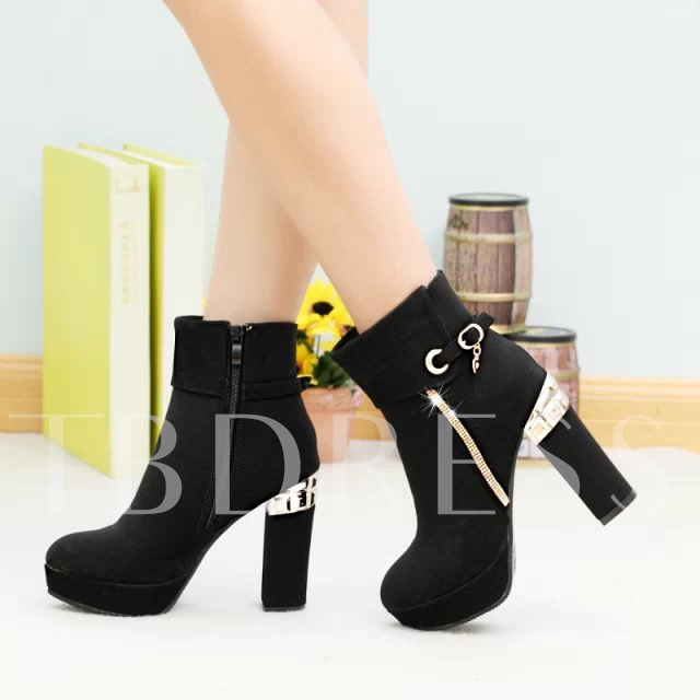 Patchwork Round Toe Ankle Square Heel Women's Boots