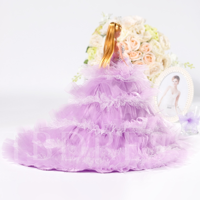 Purple Tiered Wedding Barbie Doll