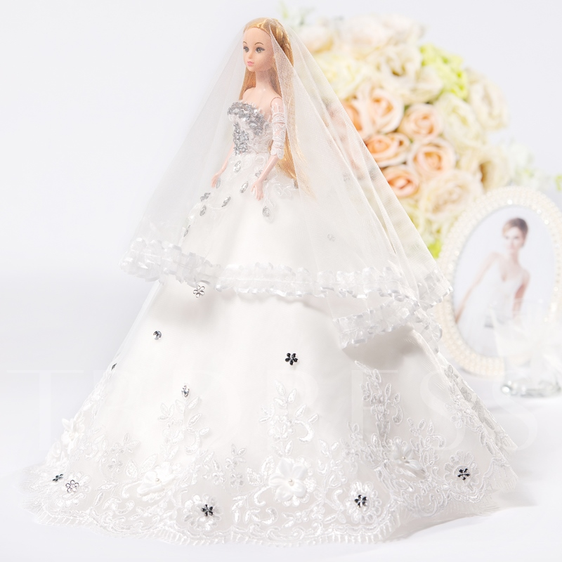 White A-Line Bridal Barbie Doll