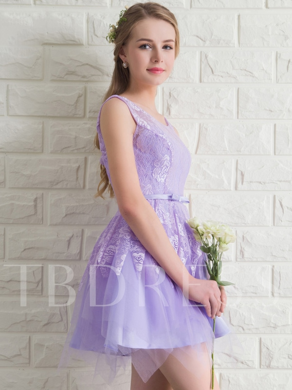 Sashes Sccop Neck A-Line Lace Short Homecoming Dress