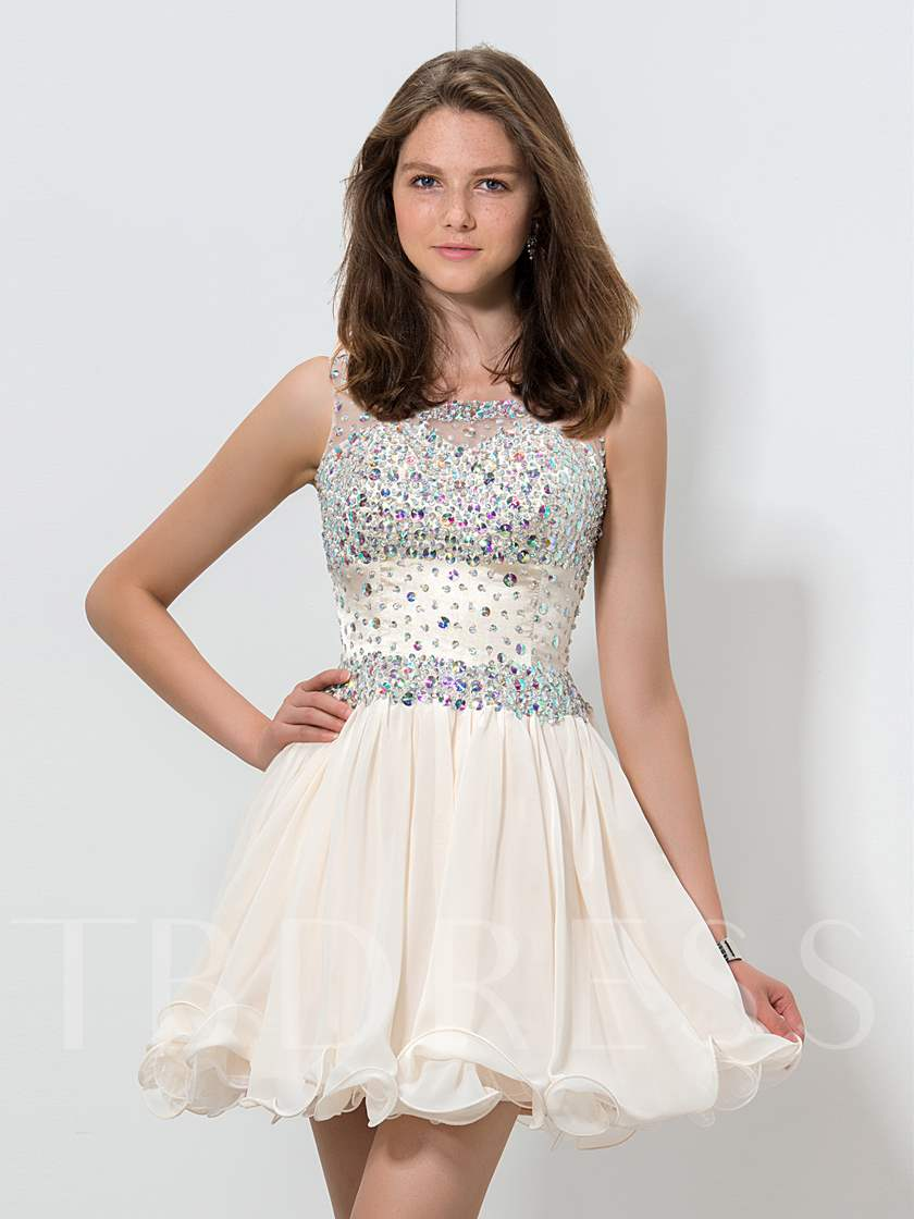 Scoop Neck A-Line Beaded Mini Homecoming Dress