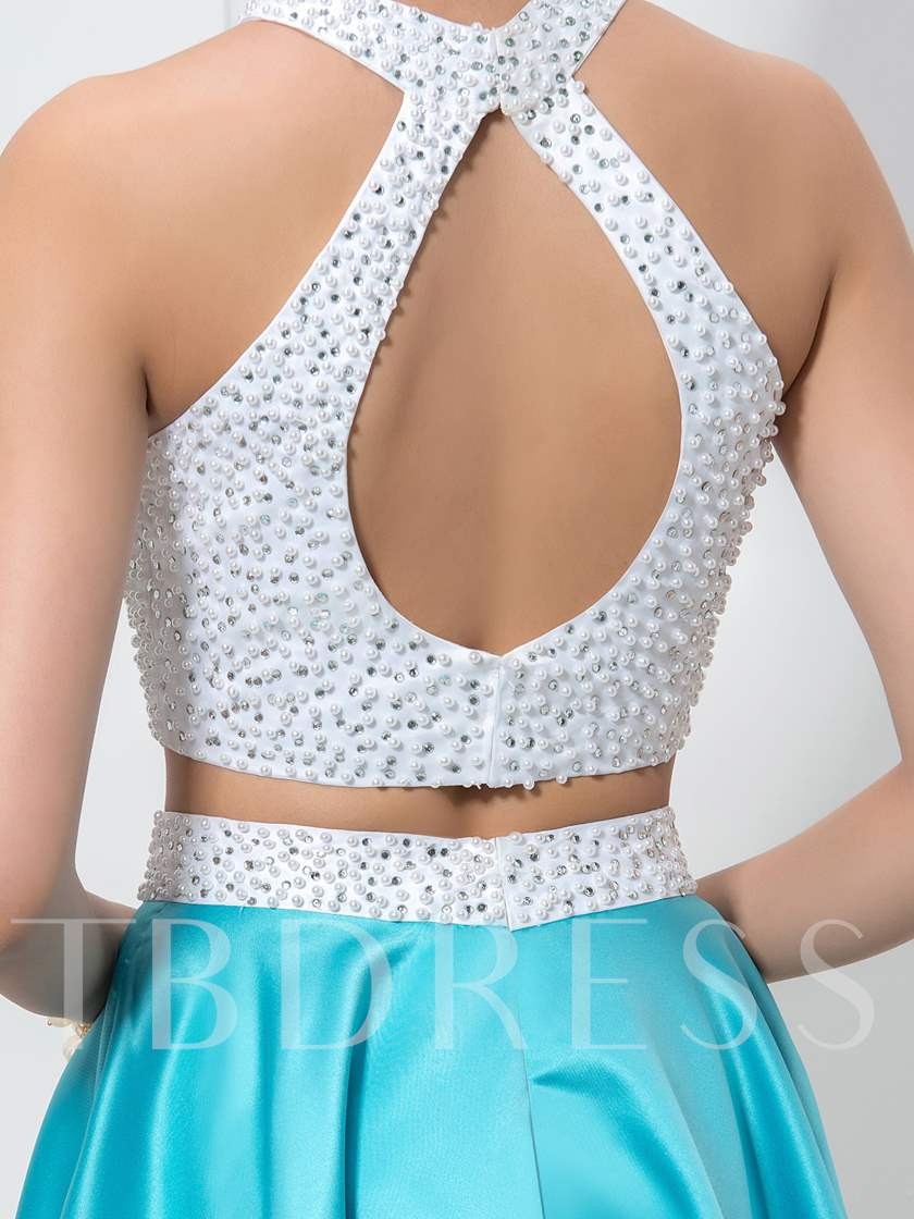 Two Pieces Pearls Beaded Homecoming Dress