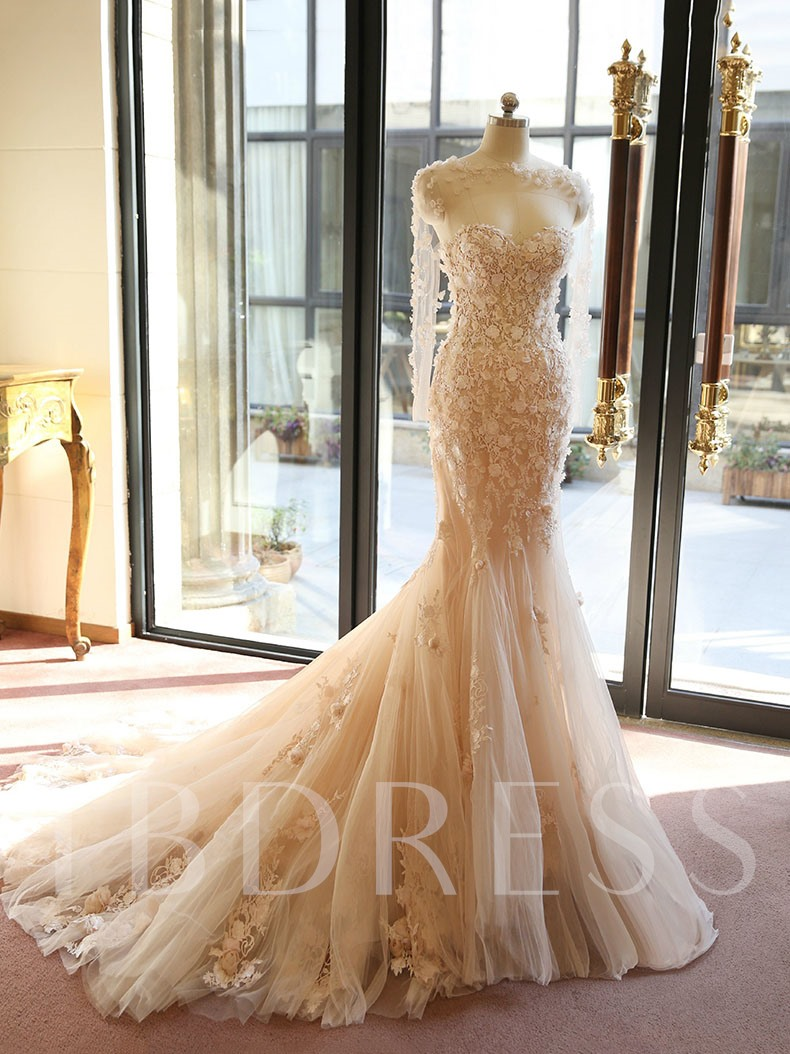 Open Back Long Sleeve Mermaid Wedding Dress