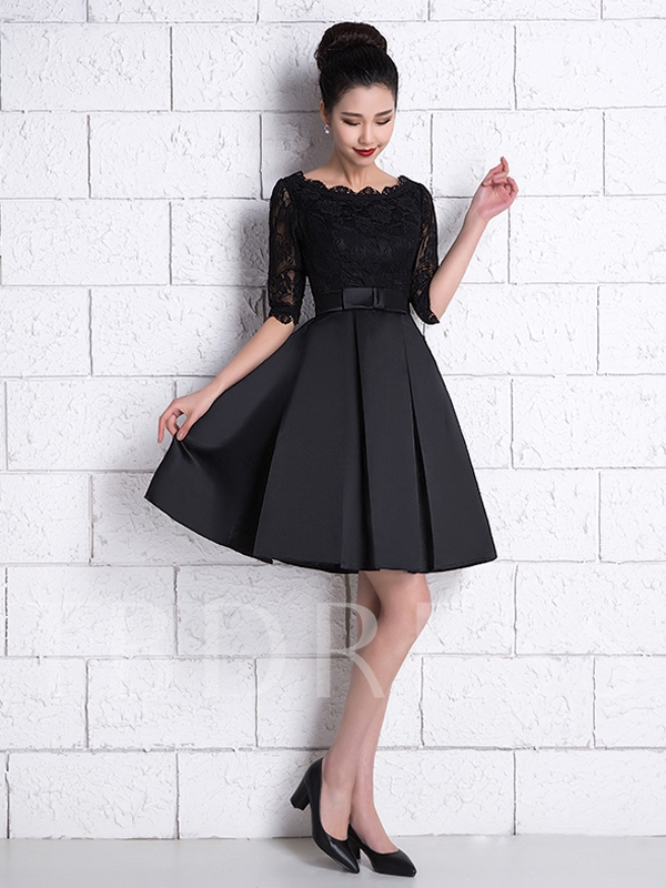 A-Line Half Sleeve Lace Short Cocktail Dress