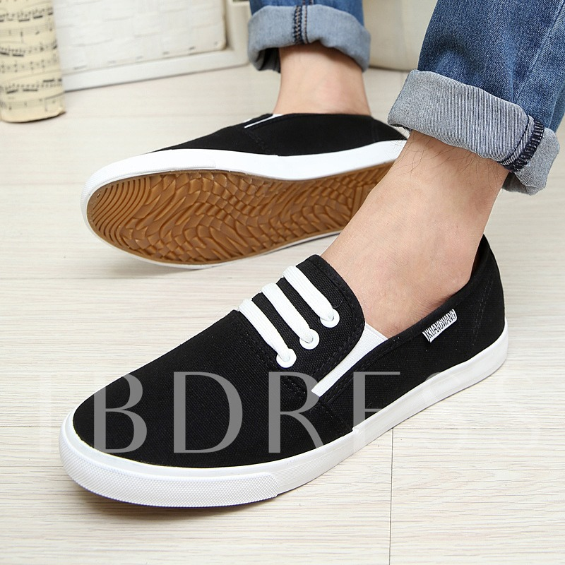 Round Toe Flat Heel Slip-On Men's Canvas