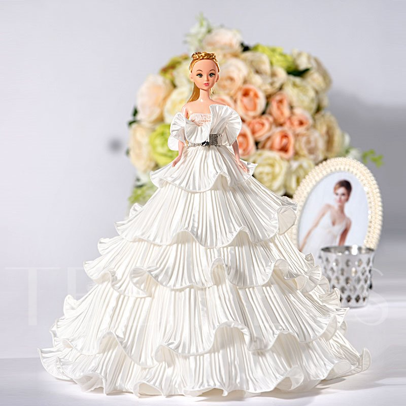 Tiered Ruched Princess Wedding Barbie Doll