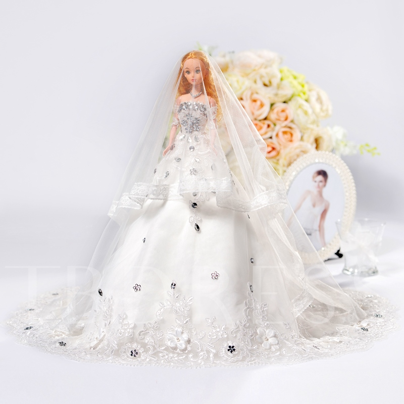 Beaded Wedding Barbie Doll Bridal Fashion Gift