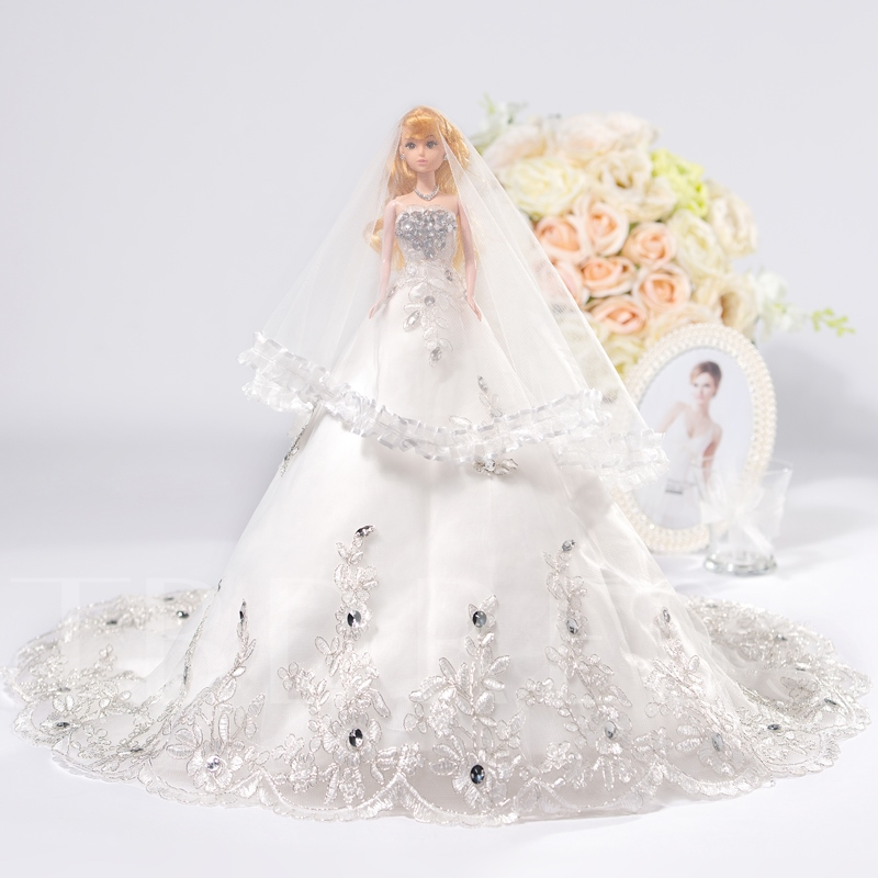 Appliques Wedding Barbie Doll with Veil