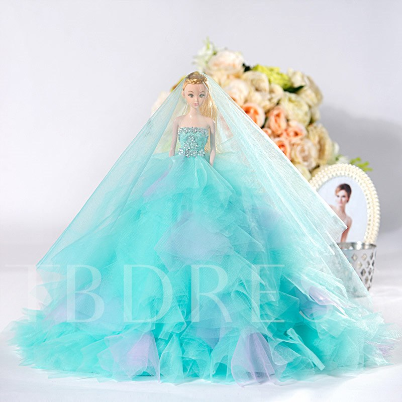 Blue Tulle Wedding Barbie Doll Bridal Gift