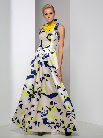 Printed A-Line Jewel Neck Flowers Beading Evening Dress