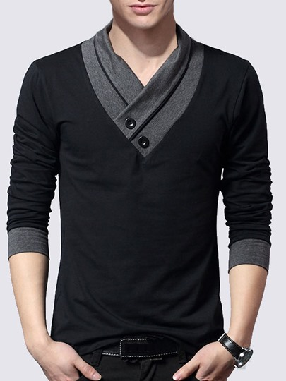V-neck Button Collar Men's Knit Wear