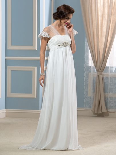 Elegant Tulle Watteau Train Empire Waist Maternity Beach Wedding Dress