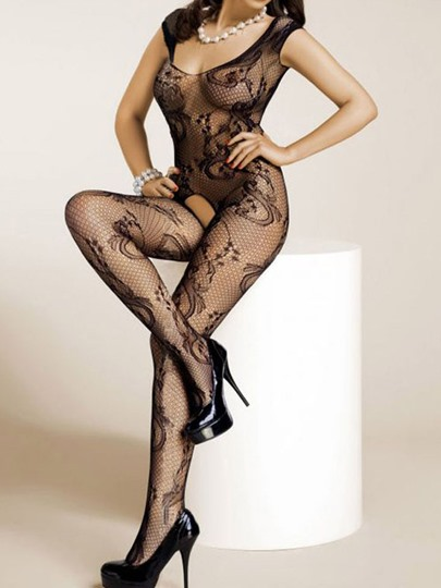 Sexy Black Floral Mesh Crotchless Body Stocking