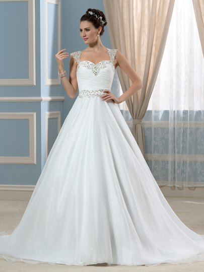 Sheer Beading Back A-Line Straps Court Wedding Dress