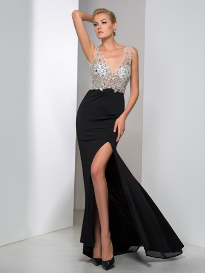 V-Neck Mermaid Rhinestone Split-Front Evening Dress