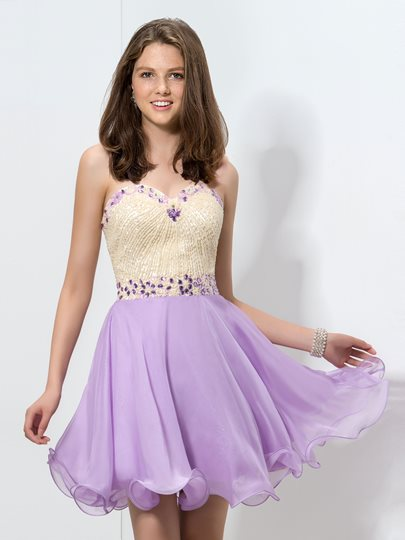 A-Line Sweetheart Sequins Beading Rhinestone Homecoming Dress