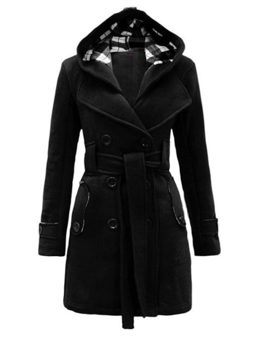 Hot Multi-Colored Tie Waist Hooded Women's Overcoat