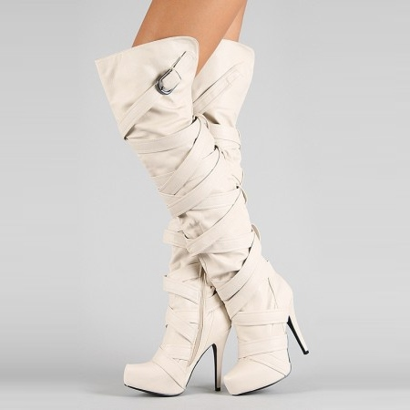 Round Toe Over-the-Knee Side Zipper Plain Women's Boots
