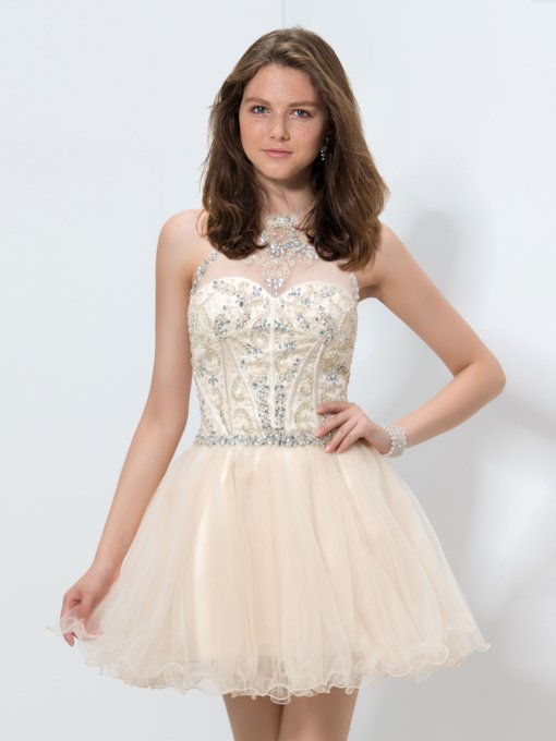 A-Line Halter Beaded Rhinestone Short Homecoming Dress