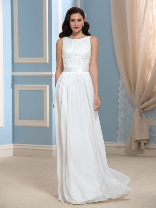 Simple Lace Chiffon Sleeveless Floor-Length Beach Wedding Dress