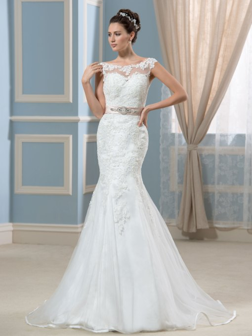 Bateau Neck Backless Beaded Mermaid Lace Wedding Dress