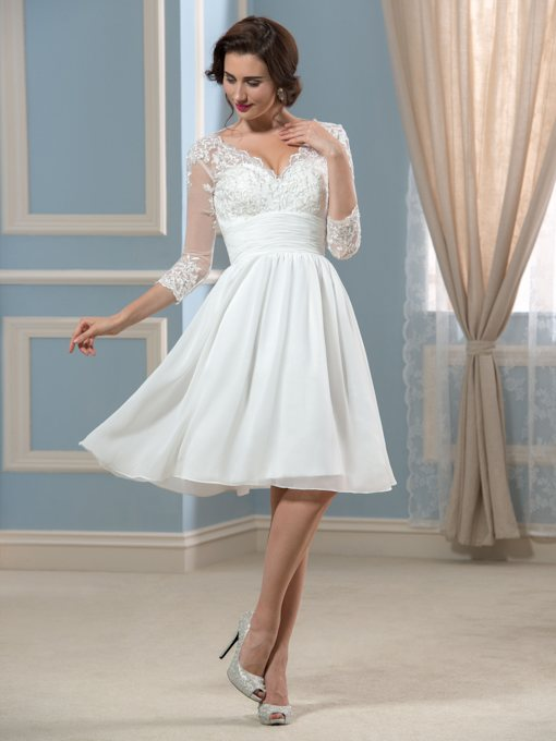 3/4 Length Sleeve Lace Short Beach Wedding Dress