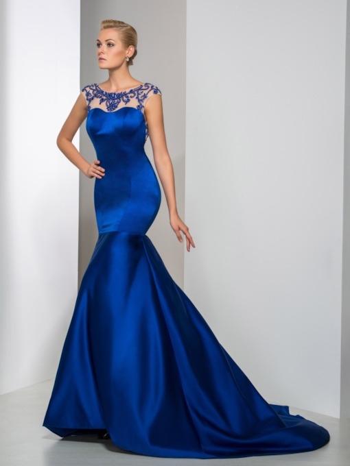 Mermaid Scoop Beading Rhinestone Backless Evening Dress
