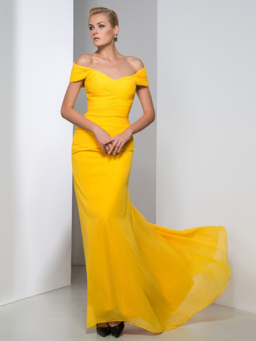 Sheath Off-the-Shoulder Ruched Yellow Evening Dress