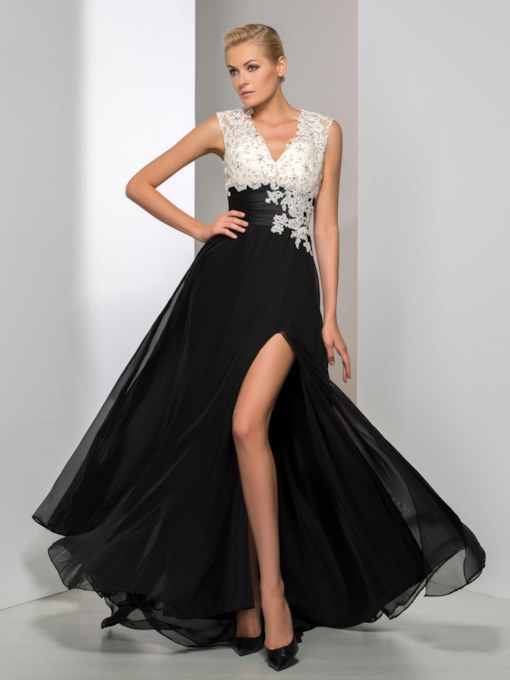 A-Line V-Neck Appliques Beading Split-Front Floor-Length Evening Dress