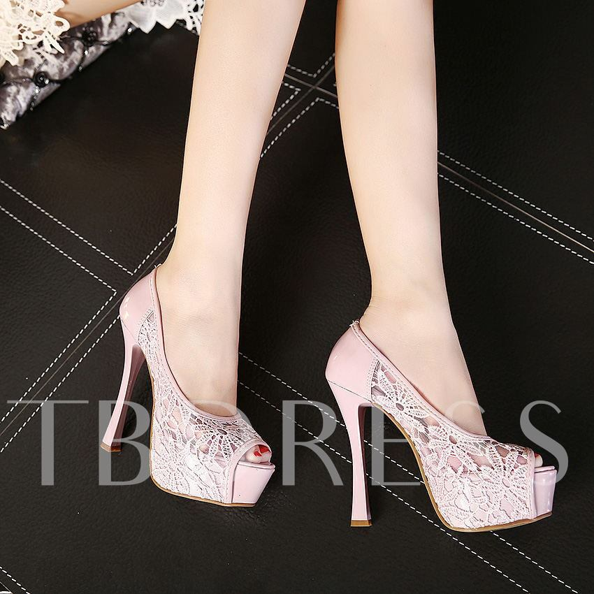 Slip-On Stiletto Heel Peep Toe Lace Women's Pumps