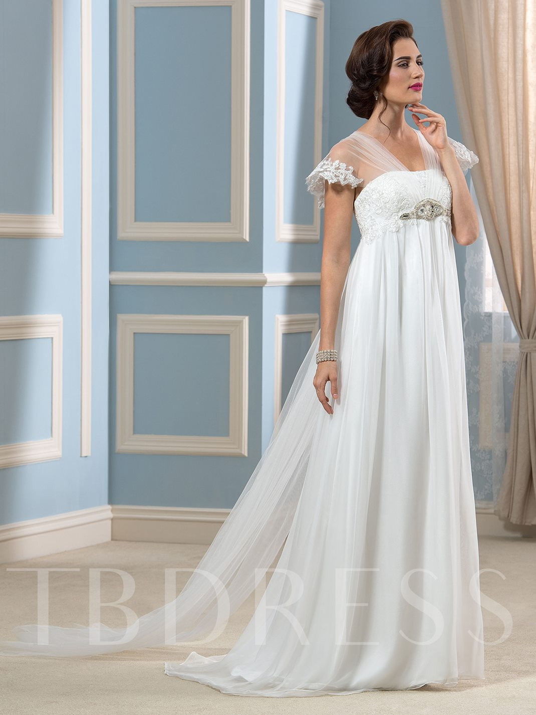 Elegant Tulle Watteau Train Empire Waist Maternity Beach Wedding ...