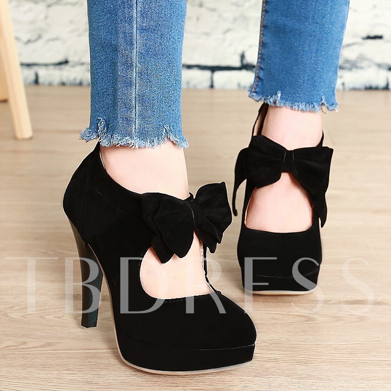 Platform Bowtie Pointed Toe Women's Pumps