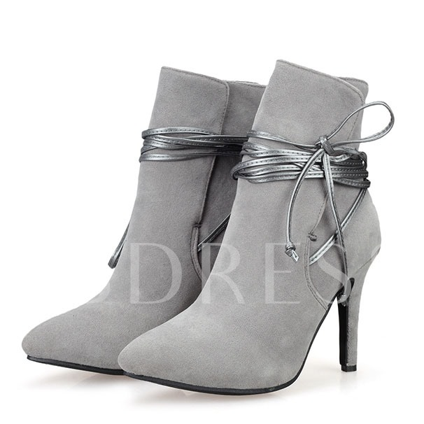 Stiletto Heel Cross Strap Pointed Toe Ankle Women's Boots