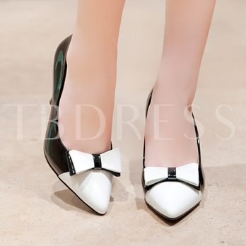 Slip-On Pointed Toe Contrast Color Women's Pumps