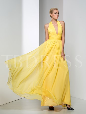 Halter A-Line Ruched Floor-Length Evening Dress