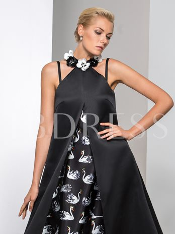 A-Line Jewel Neck Flowers Printed Ankle-Length Evening Dress