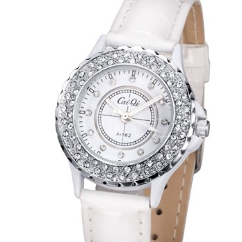 Round White Strap Watch