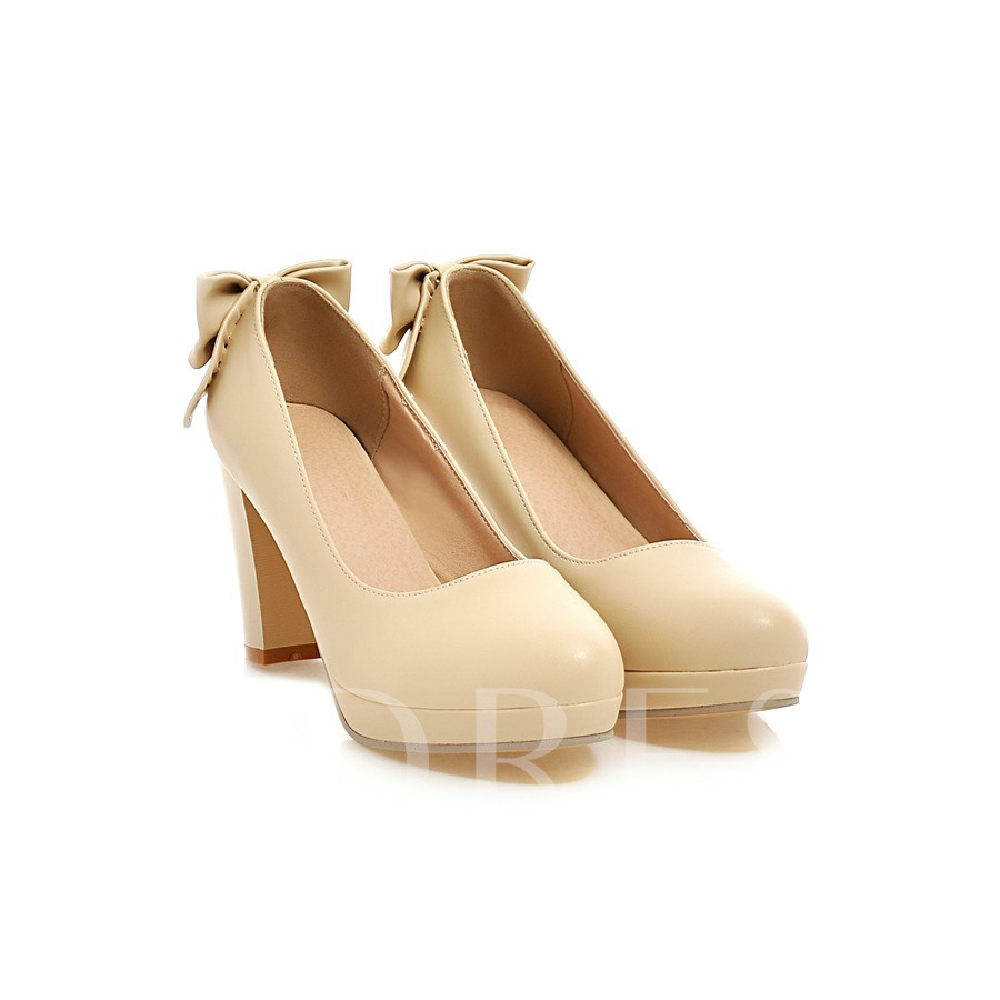 Chunky Heel Round Toe Slip-On Platform Women's Pumps