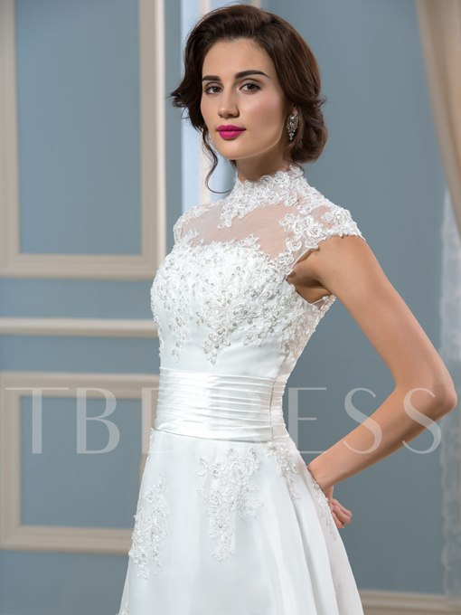 High Neck Ankle-Length Appliques Beach Wedding Dress