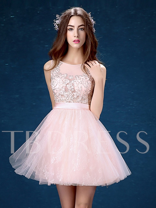 Round Neck A-Line Lace Beading Mini Homecoming Dress
