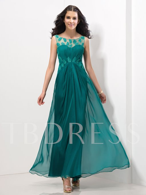 A-Line Round Neck Ruched Appliques Ankle-Length Evening Dress