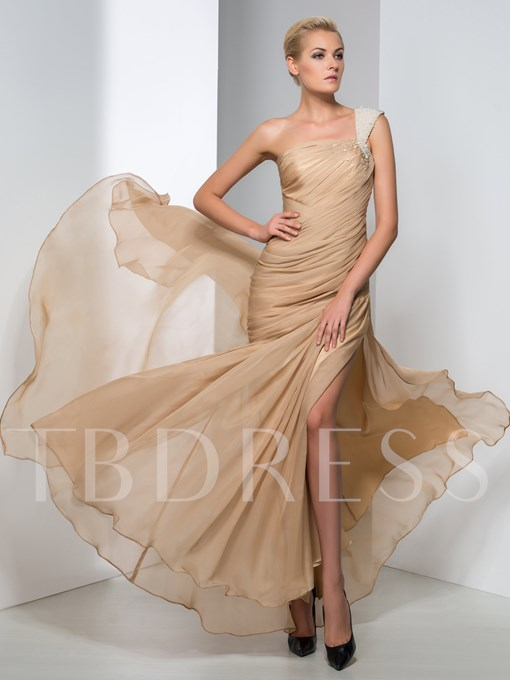 Ruched Pearls Split-Front Evening Dress