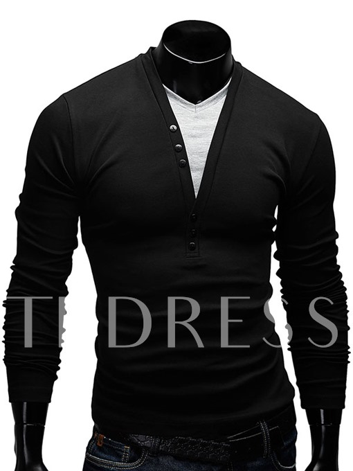 Fake Two Piece Slim Fit Men's Shirt