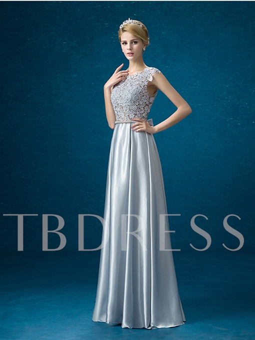 Jewel Neck Sashes A-Line Lace Floor-Length Evening Dress