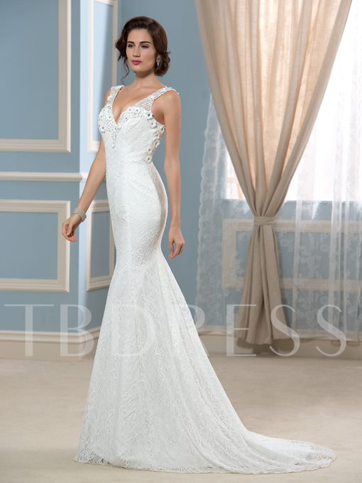 Backless Appliques Beading Lace Wedding Dress